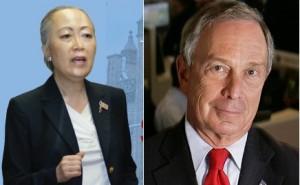 Sunny Hahn候補者 と Bloomberg NY市長
