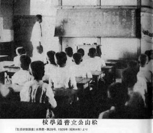 Class room of an elementary school: Pupils were taught in Hungul