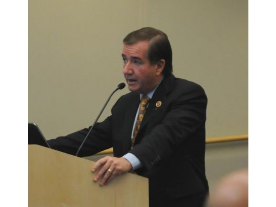 "Congressman Ed Royce addresses the Fullerton City Council on Tuesday. He coauthored a bill asking the Japanese government to apologize for using Korean women as ""comfort women,"" or sex slaves, during World War II."