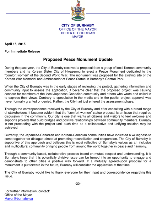 proposed peace monument update April 15 2015