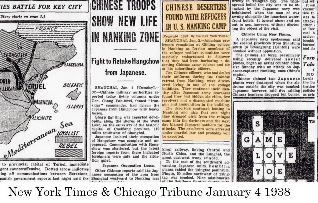 EX-CHINESE OFFICERS AMONG U.S. REFUGEES (Jan4, 1938)